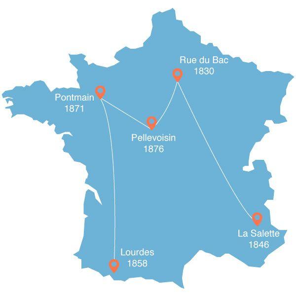 carte de France des 5 lieux d apparition